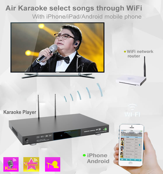 KHP-8826 karaoke machine support airKTV via iPhone/android phone
